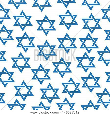 Seamless pattern of the Star of David. Simfol Jewish Star of David pattern texture wallpaper. Vector illustration