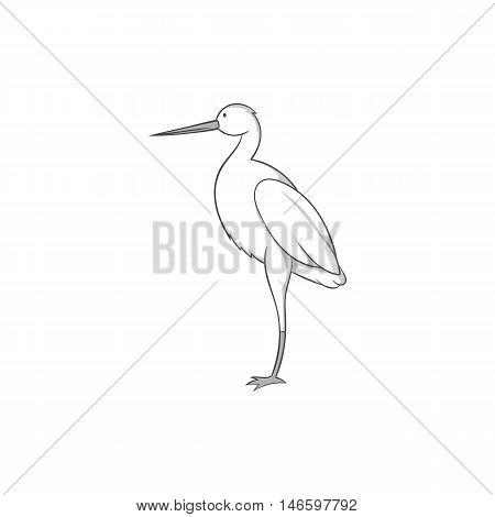 Stork icon in black monochrome style isolated on white background. Bird symbol vector illustration