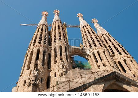 JUNE 15 2011 - BARCELONA SPAIN: Sagrada Familia Cathedral church in Barcelona