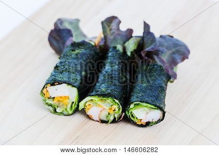 Fresh vegetable wrapped with seaweed sheet, Seaweed-wrapped shrimp