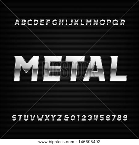 Metal alphabet font. Chrome effect oblique letters and numbers on a dark background. Vector typeface for your design.