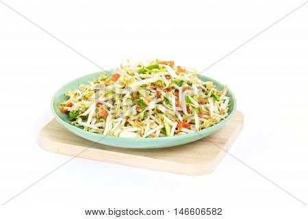 Dish Of Fried Bean Sprouts On Wooden  Cutting Board