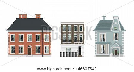 Detailed set of isolated vector old town village main street with retro victorian style houses facades