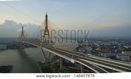 aerial view of bhumiphol bridge crossing chaopraya river important modern landmark of bangkok thailand capital