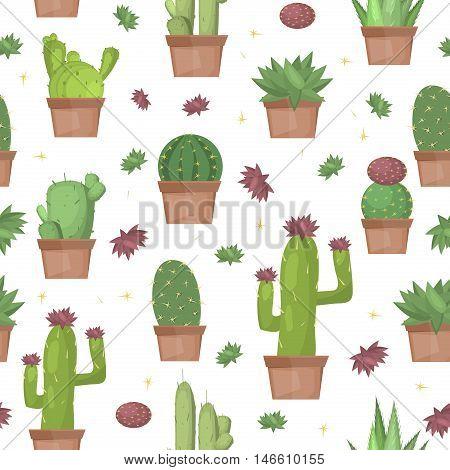 Cactus seamless pattern vector background. Summer print green art graphic cactus pattern design plant garden vector. Desert botanical flower cactus seamless pattern nature design.
