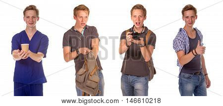 Artist portfolio. Doctor giving a cup of tea Excited young man showing the thumbs up gesture Young shocked student opening his backpack young man taking a picture isolated on white background