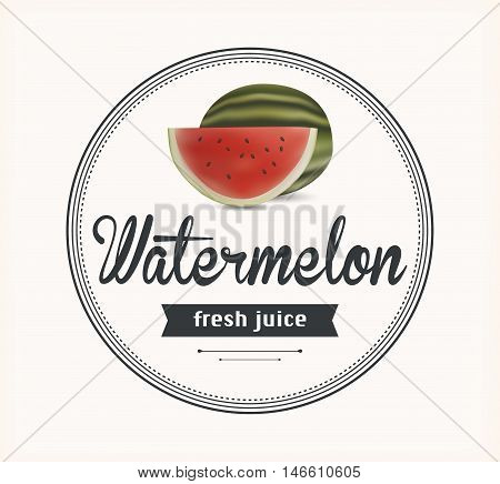 watermelon juice. Detailed Vector label. Series of food and drink.
