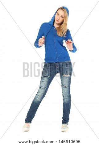 Young Sexy Blond Woman In Eee Shirt Isolated On White