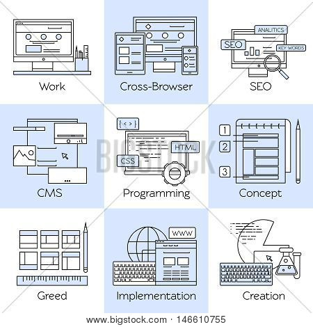 Web design line white icon set with descriptions of work cross browser seo cms programming concept vector illustration