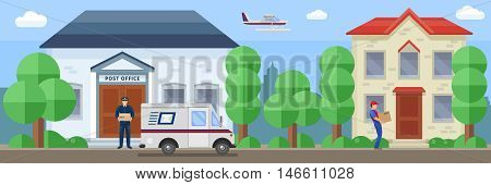 Post service composition with employee near mail office and delivery of order by destination vector illustration