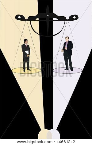 Vector Illustration Of Businessmen Stand On The Scale Pan