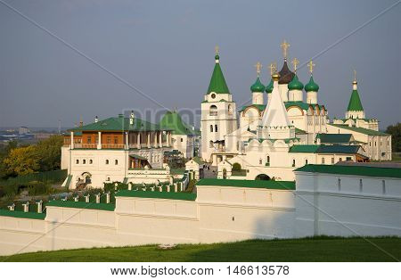The old Pechersky Ascension monastery on an evening in august. Nizhny Novgorod