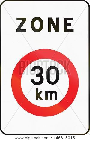 Belgian Regulatory Road Sign - Limited Speed Zone