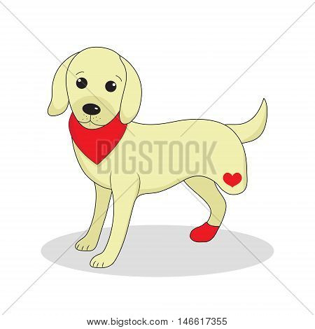 Dog without one leg. Dog invalid. Puppy with an injury. Vector illustration
