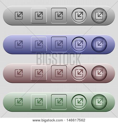 Resize window icons on rounded horizontal menu bars in different colors and button styles