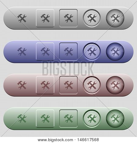 Tools icons on rounded horizontal menu bars in different colors and button styles