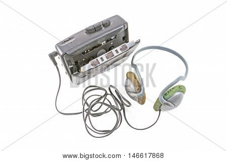 Portable cassette player on the white background