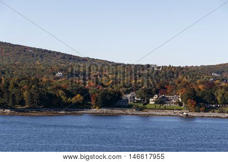 Bay of Bar Harbor with the Acadia National Park in Maine (USA)