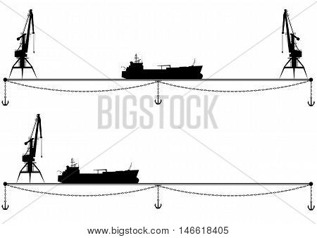 set of vector borders with crane anchor and ship in black and white