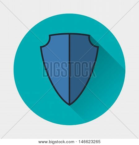 shield icon. Armor symbol. Flat style with soft long shadow. Vector illustration