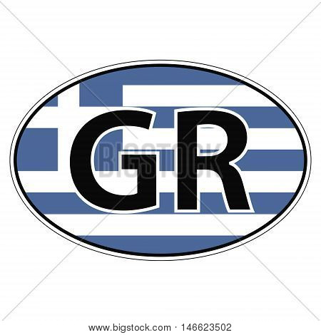 Sticker on car oval, ellipse, flag Greece with the inscription GR vector for print or website design for language buttons