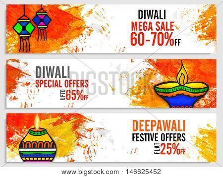 Diwali Mega Sale website header or banner set, Creative abstract background with watercolor brush strokes and illuminated oil lamps for Indian Festival of Lights celebration.