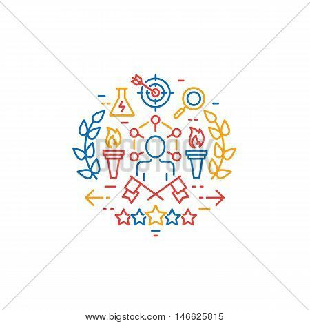 Vector emblem related to striving for success leadership development career progress and personal training. Mono line and design element