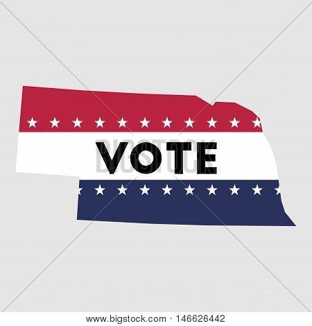 Vote Nebraska State Map Outline. Patriotic Design Element To Encourage Voting In Presidential Electi
