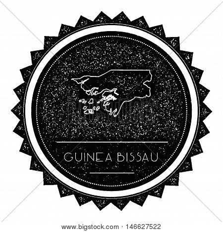Guinea-bissau Map Label With Retro Vintage Styled Design. Hipster Grungy Guinea-bissau Map Insignia