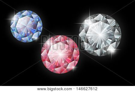 Vector diamonds. Ruby, sapphire and diamond on a black background. Isolated gems