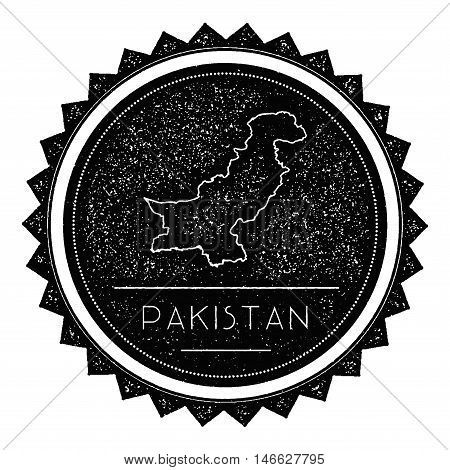 Pakistan Map Label With Retro Vintage Styled Design. Hipster Grungy Pakistan Map Insignia Vector Ill