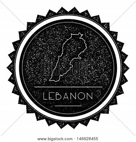 Lebanon Map Label With Retro Vintage Styled Design. Hipster Grungy Lebanon Map Insignia Vector Illus