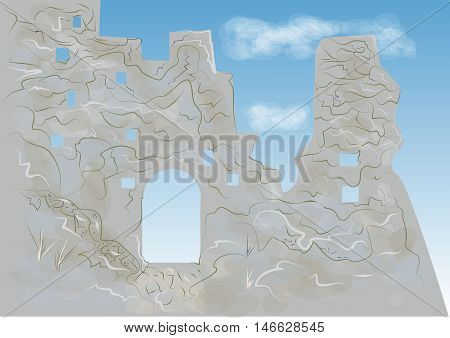 Tintagel Castle. abstract illustration of legendary castle
