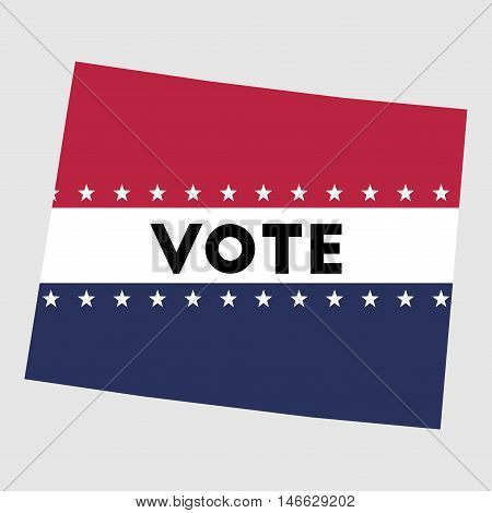 Vote Wyoming State Map Outline. Patriotic Design Element To Encourage Voting In Presidential Electio