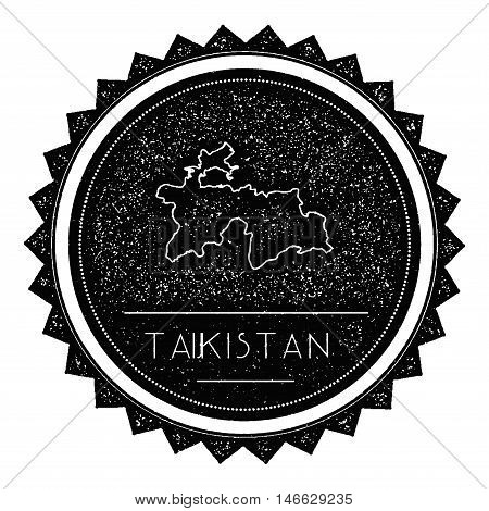 Tajikistan Map Label With Retro Vintage Styled Design. Hipster Grungy Tajikistan Map Insignia Vector