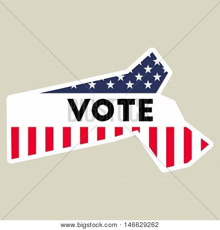 Usa Presidential Election 2016 Vote Sticker. Massachusetts State Map Outline With Us Flag. Vote Stic