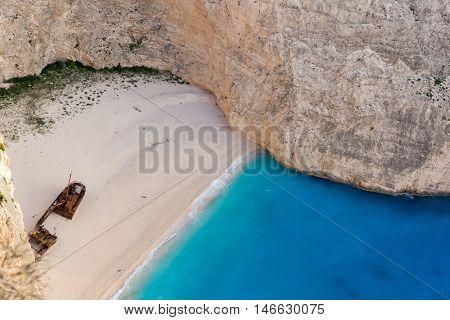 Panorama of Navagio Shipwreck beach, Zakynthos, Greece