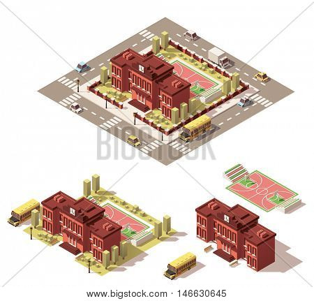 Vector isometric low poly city infographic element representing school or university building icon