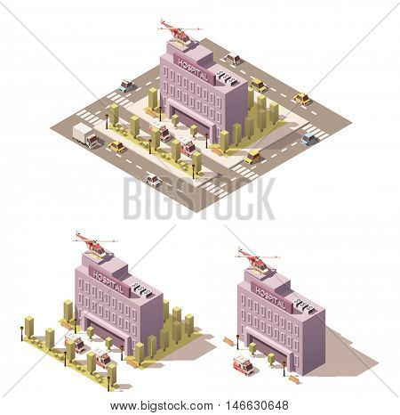 Vector isometric low poly city infographic element representing hospital and ambulance
