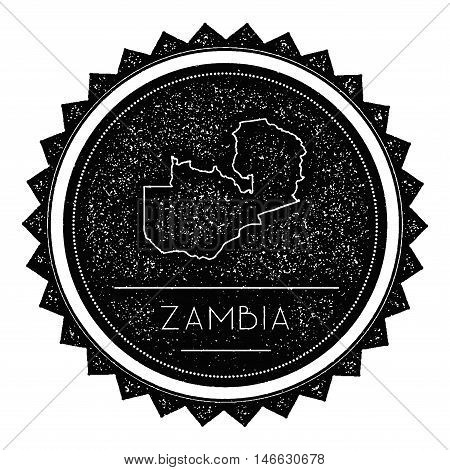 Zambia Map Label With Retro Vintage Styled Design. Hipster Grungy Zambia Map Insignia Vector Illustr