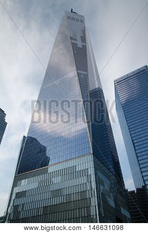 NEW YORK - JUNE 12 2015: Freedom Tower or One World Trade Center - complex in Lower Manhattan New York City