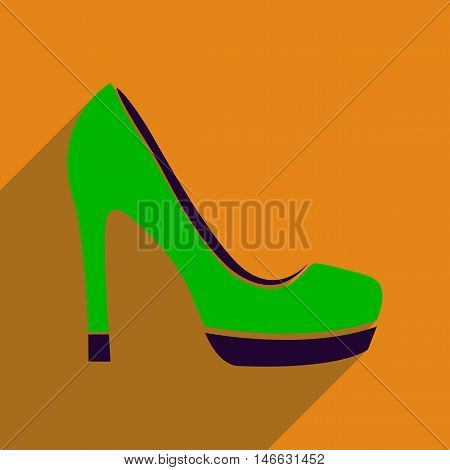 Flat icon with long shadow  stiletto heels