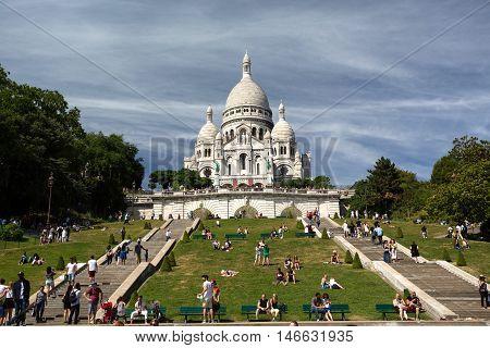 Sacre Coeur Basilica In Summer Day