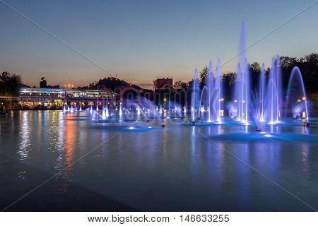 Amazing Sunset Panorama of Singing Fountains in City of Plovdiv, Bulgaria Tsar Simeon Garden