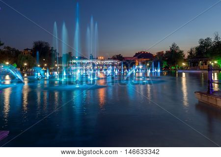 Night photo of Singing Fountains in City of Plovdiv, Bulgaria