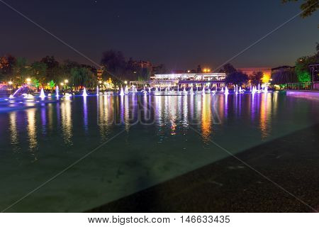 Night panorama of Singing Fountains in City of Plovdiv, Bulgaria