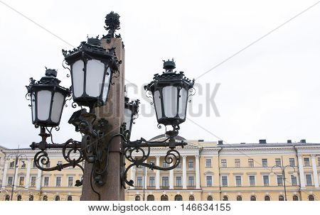 Lantern Of The Monument To Alexander Ii The Liberator At The Senate Square In Helsinki.