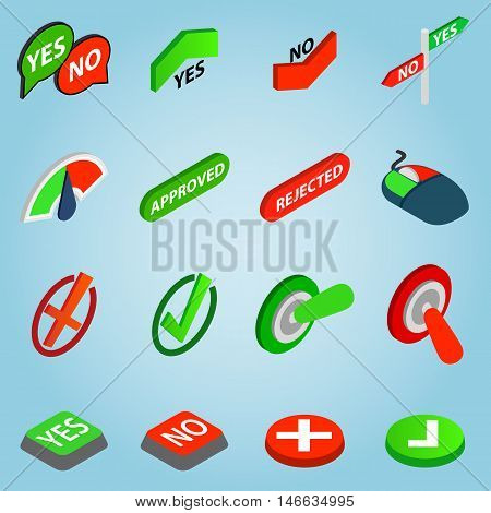 Isometric selection icons set. Universal selection icons to use for web and mobile UI, set of basic selection elements vector illustration