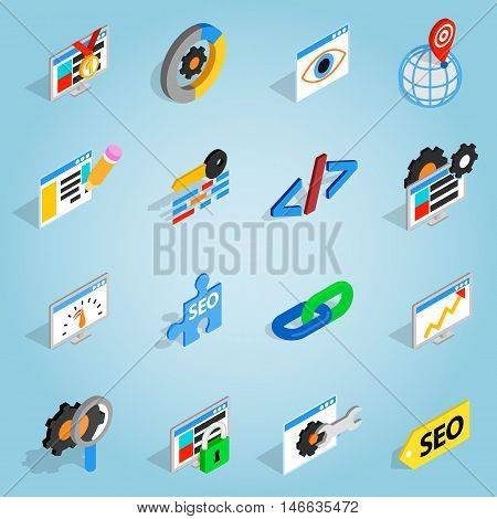 Isometric seo set icons. Universal seo icons to use for web and mobile UI, set of basic seo elements vector illustration