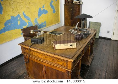 POLAND, KRAKOW - MAY 27, 2016: Work desk of Oskar Schindler. Schindler's Factory Museum in Krakow. Oskar Schindler was a German industrialist who is credited with saving the lives of 1,200 Jews during the Holocaust.